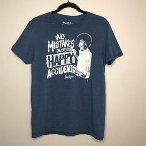 Bob Ross No Mistakes Painting blue graphic tee M